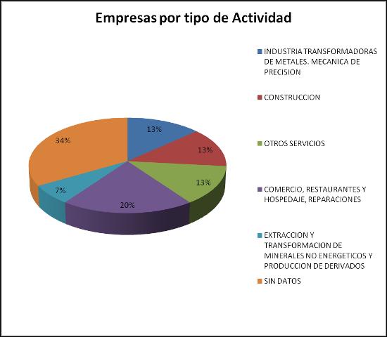 Empresas por tipo de actividad - Polígono El Carmen